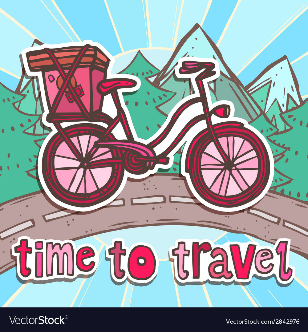 Travel poster with bicycle vector | Price: 1 Credit (USD $1)