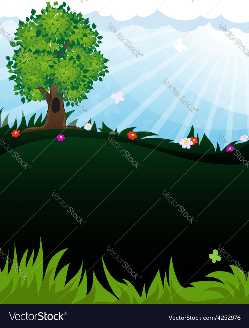 Tree in meadow vector | Price: 3 Credit (USD $3)