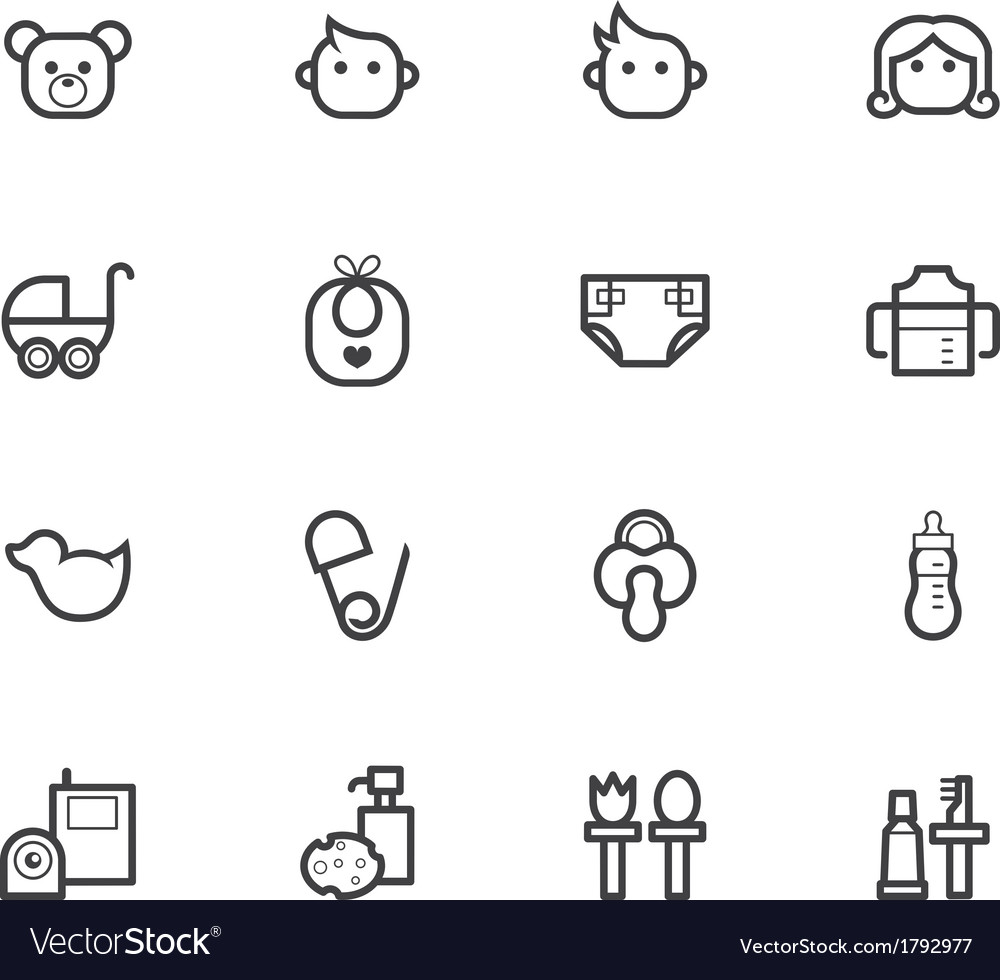 Baby stuff black icon set on white background vector | Price: 1 Credit (USD $1)