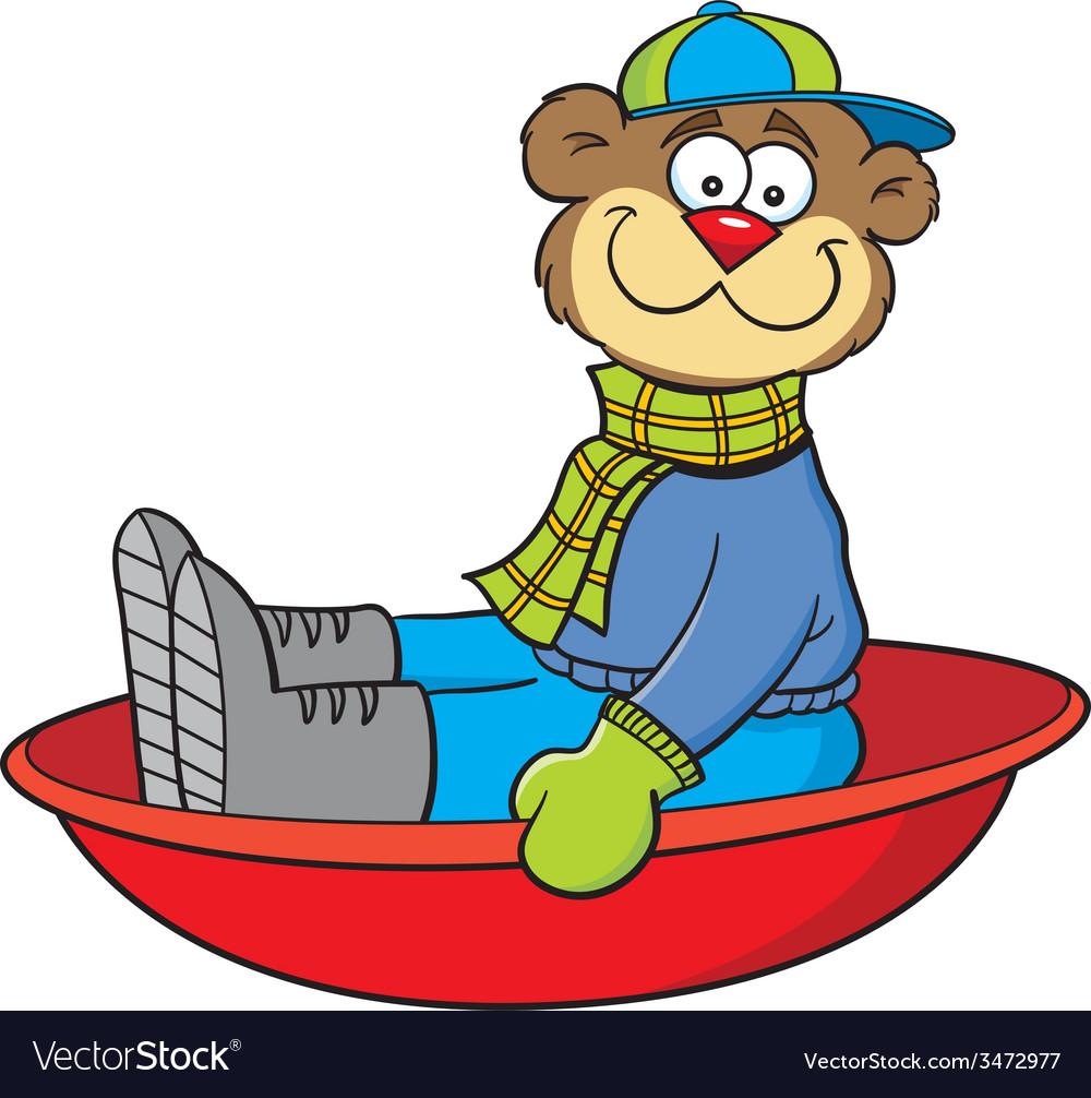 Cartoon teddy bear on a sled vector   Price: 1 Credit (USD $1)
