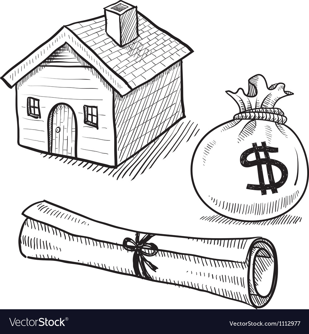 Doodle mortgage loan rent house debt money vector | Price: 1 Credit (USD $1)