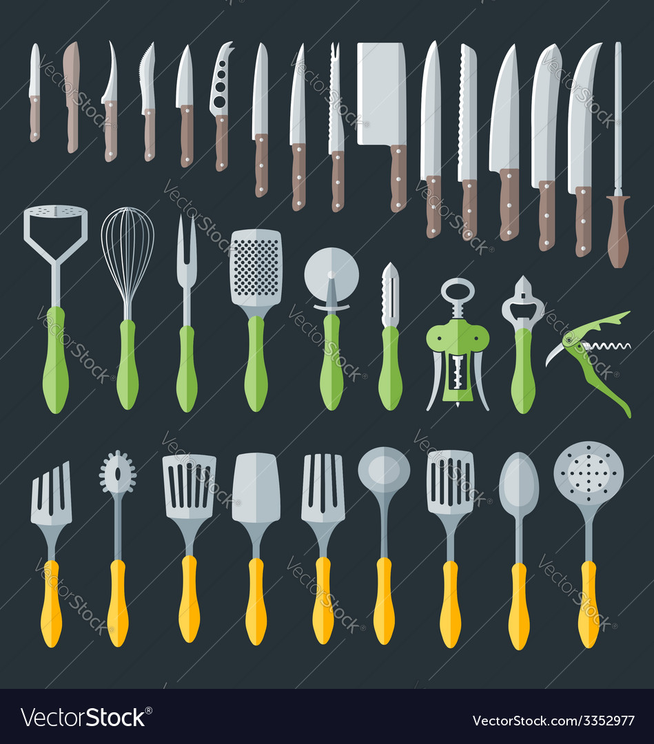 Flat kitchenware cutlery tools set vector | Price: 1 Credit (USD $1)