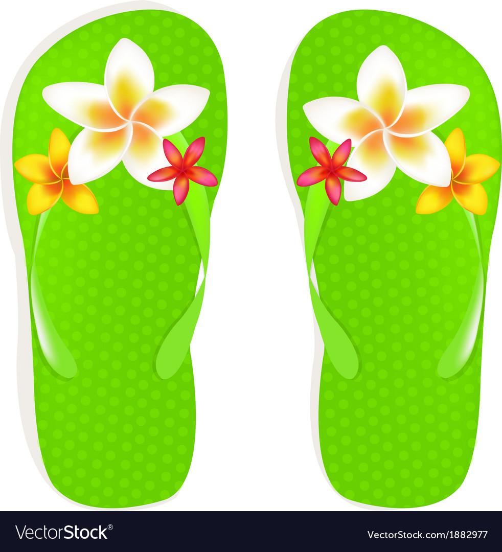 Flip flops with flowers vector | Price: 1 Credit (USD $1)