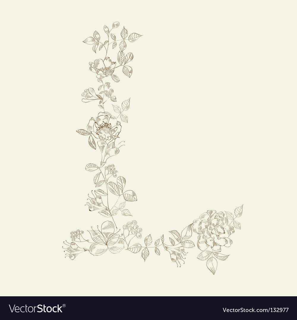 Floral font letter l vector | Price: 1 Credit (USD $1)