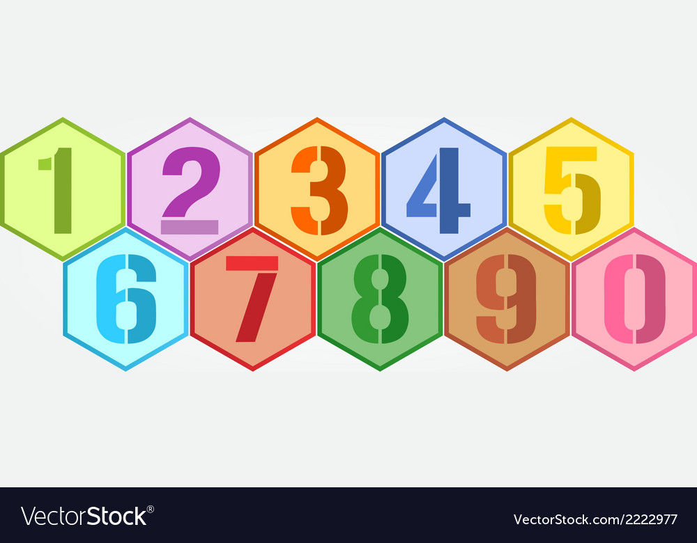Hexagon colorful numbers set vector | Price: 1 Credit (USD $1)