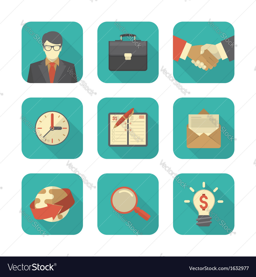 Modern flat business icons set vector | Price: 1 Credit (USD $1)