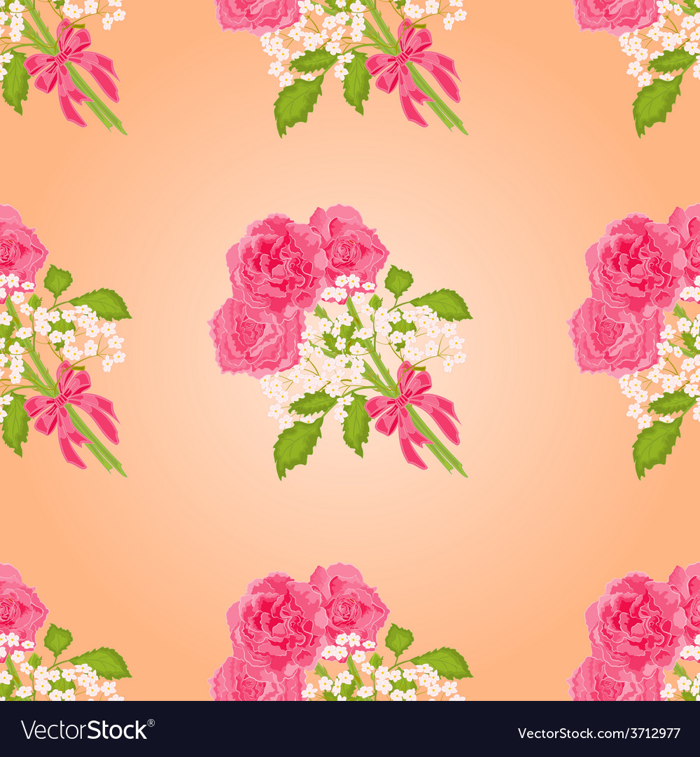 Seamless texture bouquet of three roses vector | Price: 1 Credit (USD $1)