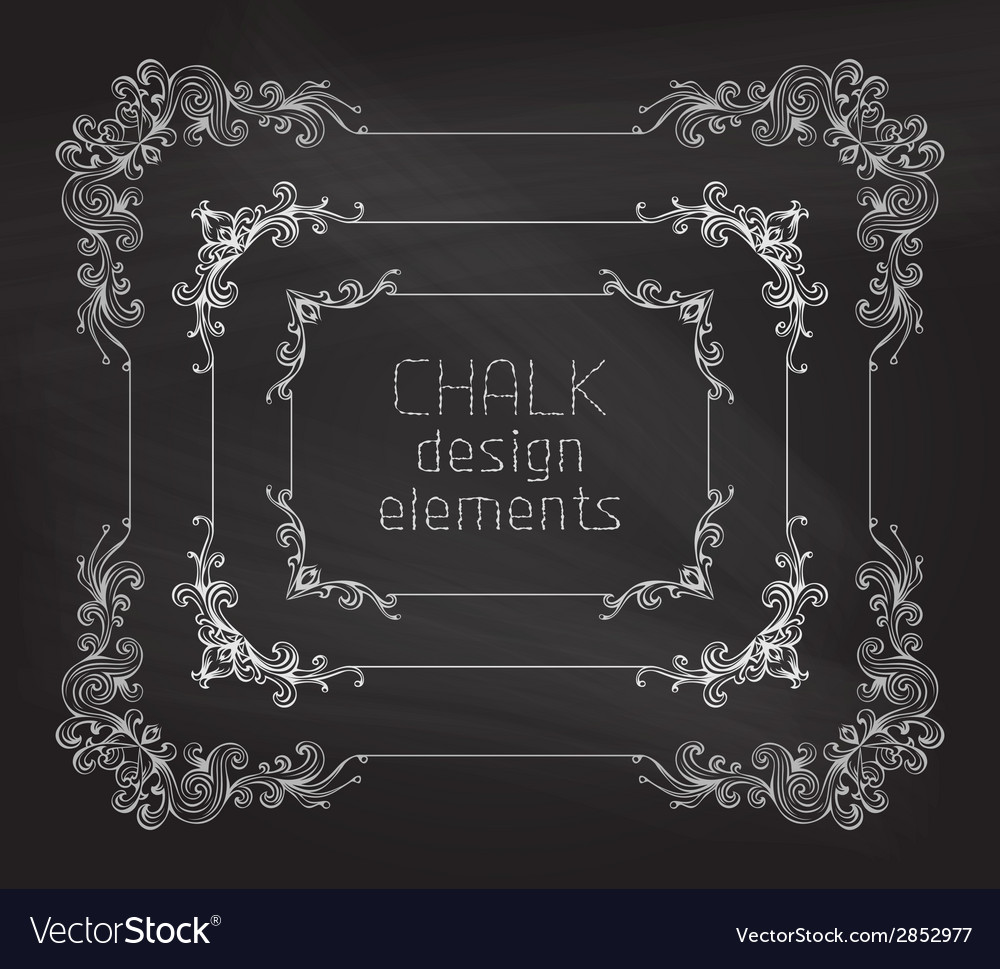 Set of chalk calligraphic frames vector | Price: 1 Credit (USD $1)