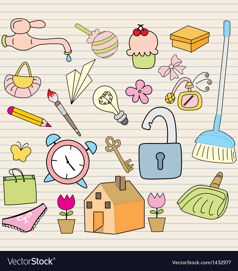 Set of household objects vector | Price: 1 Credit (USD $1)