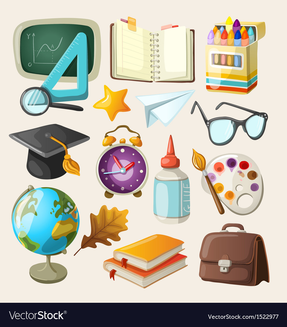 Set of school items vector | Price: 3 Credit (USD $3)