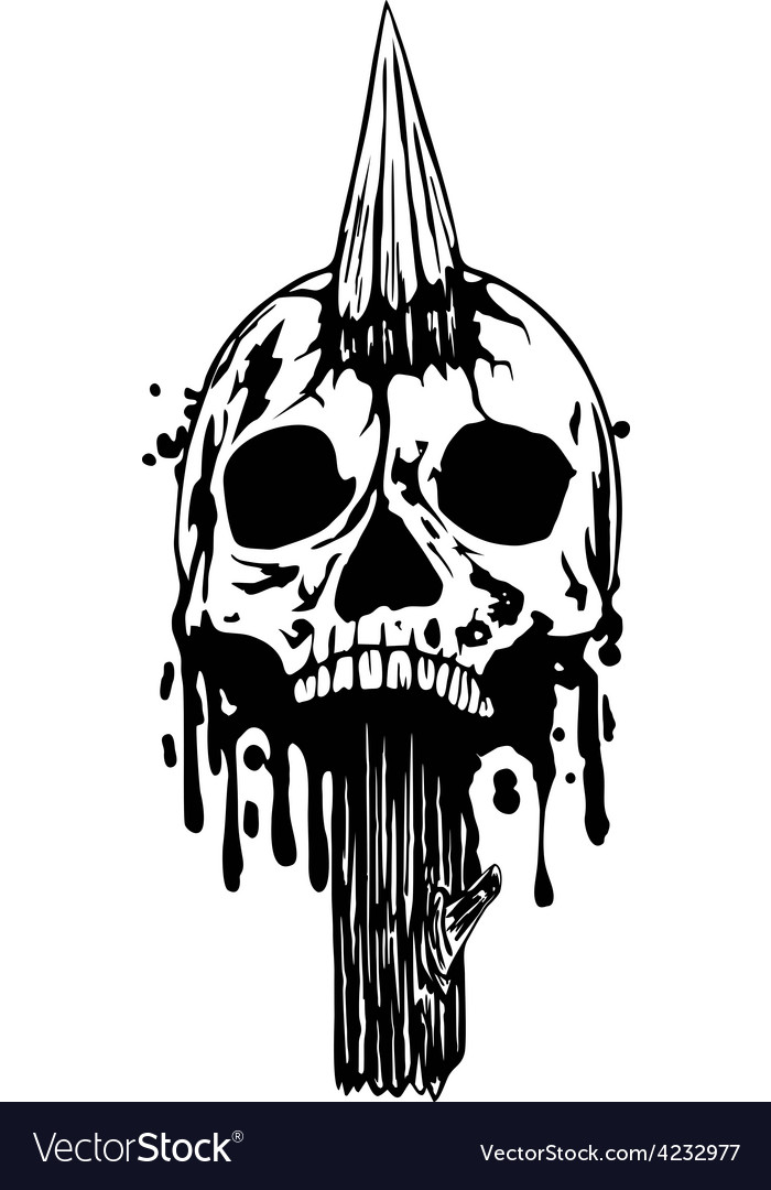 Skull with stake vector | Price: 3 Credit (USD $3)