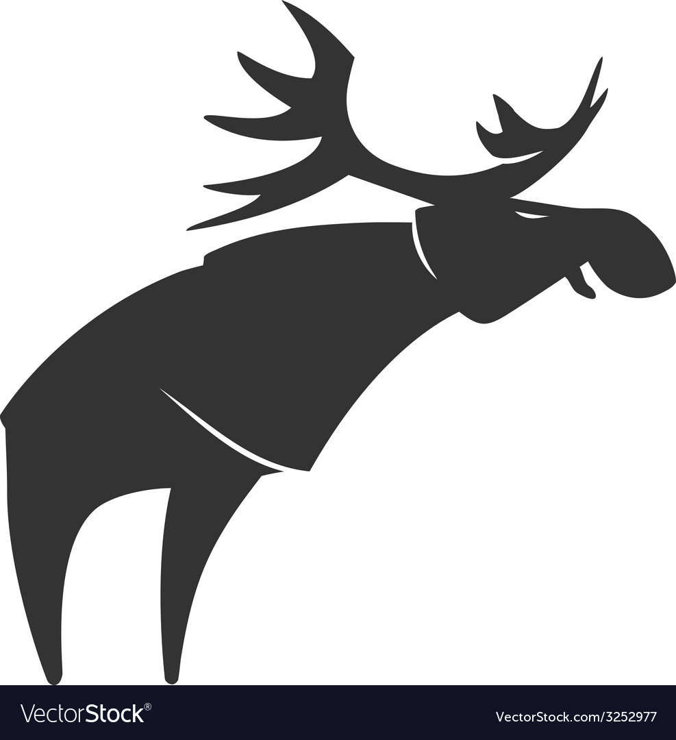Stylized silhouette moose logo emblem vector | Price: 1 Credit (USD $1)