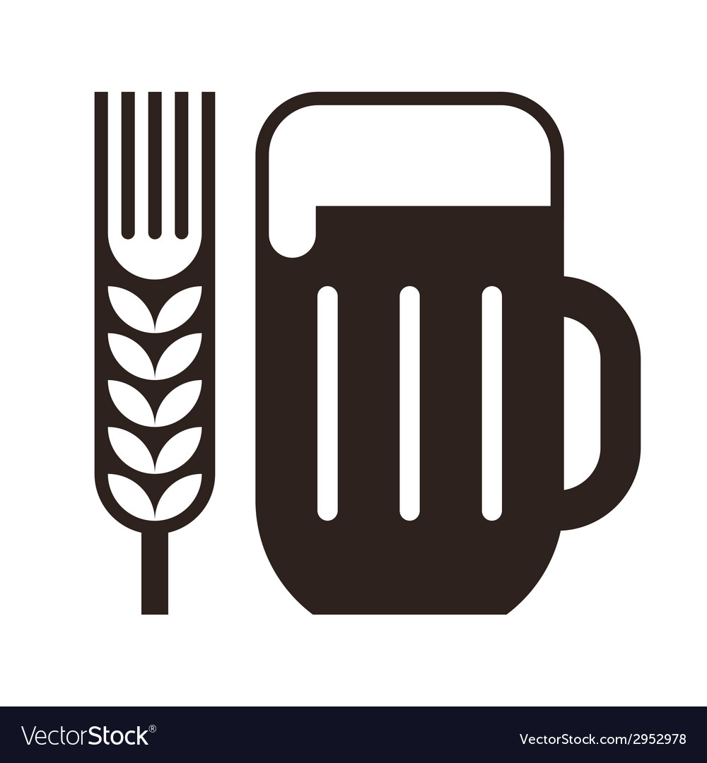Beer glass and wheat ear symbol vector | Price: 1 Credit (USD $1)