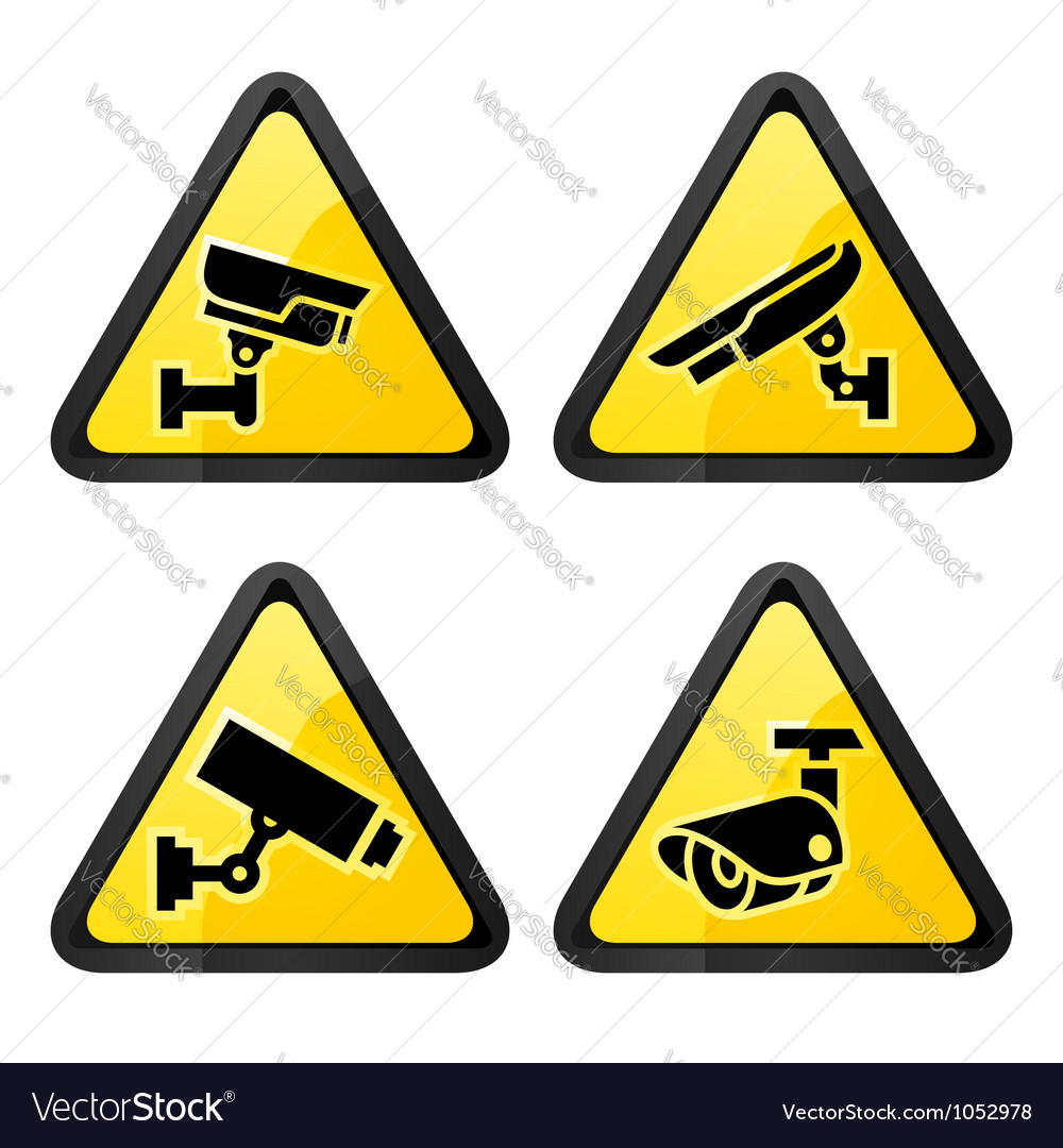 Cctv triangular labels set symbol video vector | Price: 1 Credit (USD $1)
