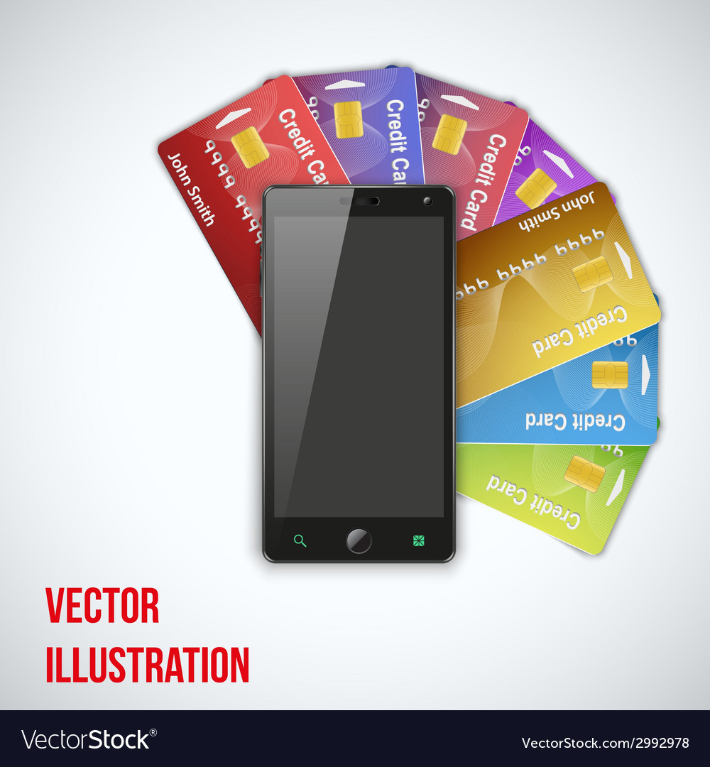 Credit card and cell phone vector | Price: 1 Credit (USD $1)
