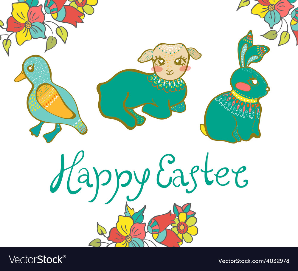 Easter card with duck lamb rabbit and flowers vector | Price: 1 Credit (USD $1)