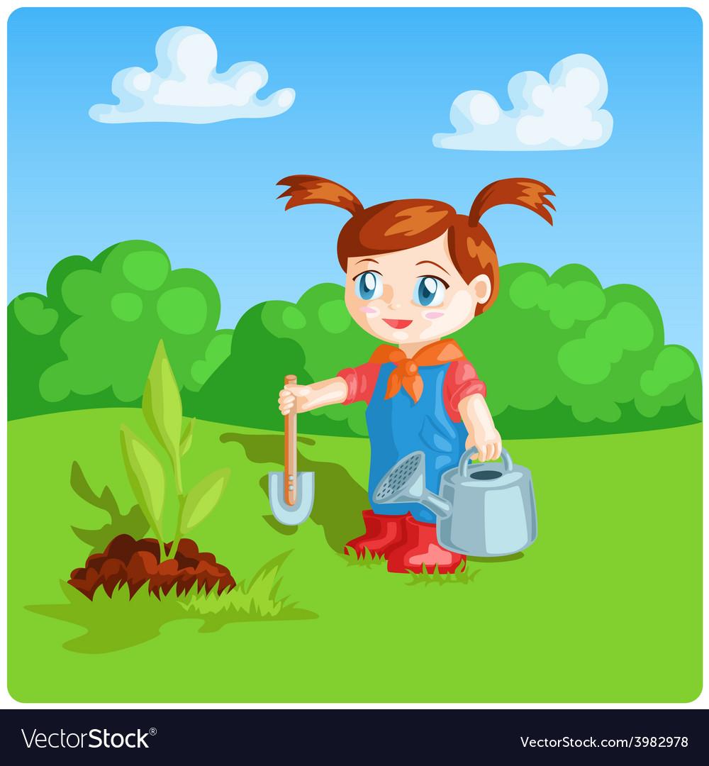 Girl doing garden work vector | Price: 3 Credit (USD $3)