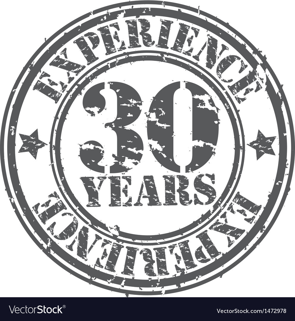 Grunge 30 years of experience rubber stamp vector | Price: 1 Credit (USD $1)