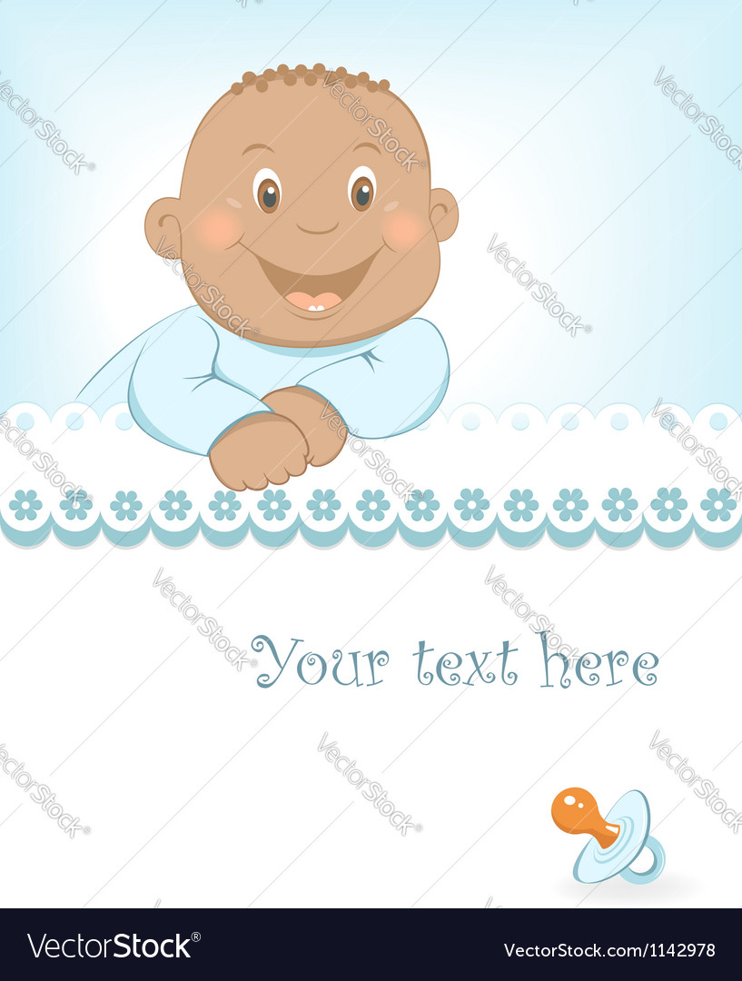 Happy african baby boy arrival announcement vector | Price:  Credit (USD $)