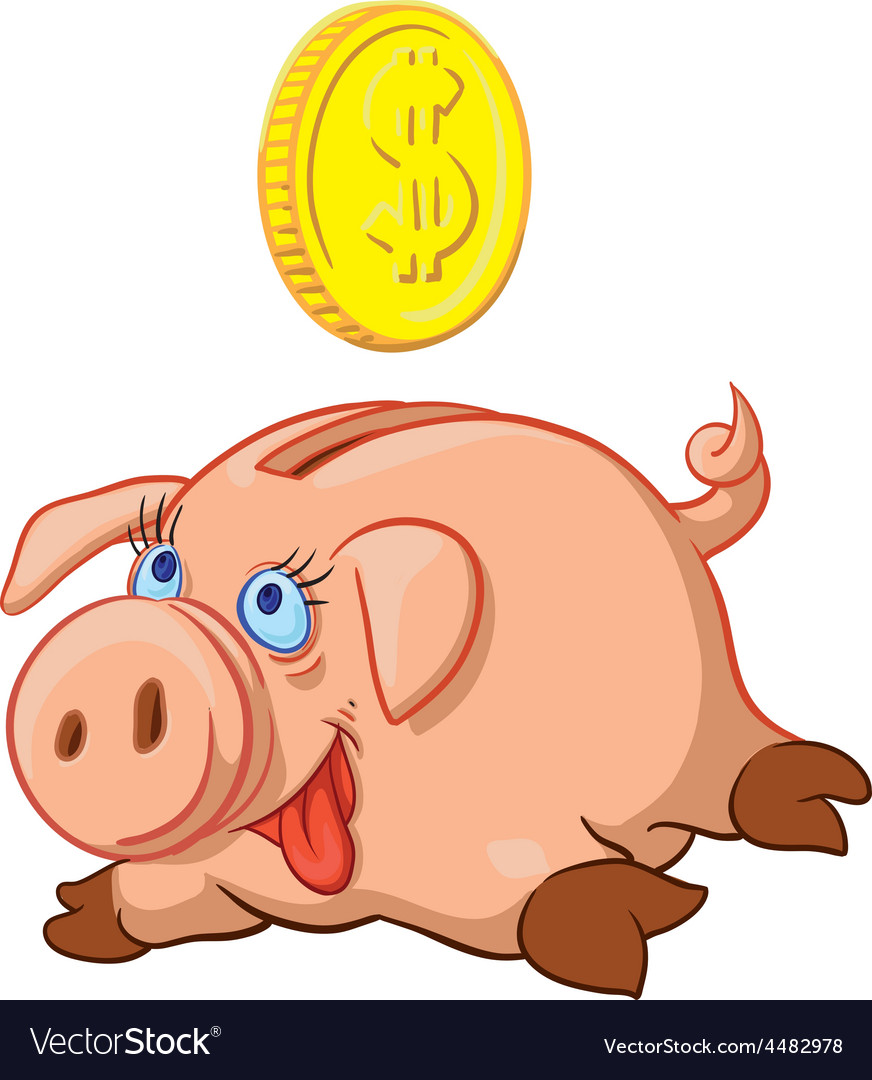 Happy pig piggy bank vector | Price: 1 Credit (USD $1)