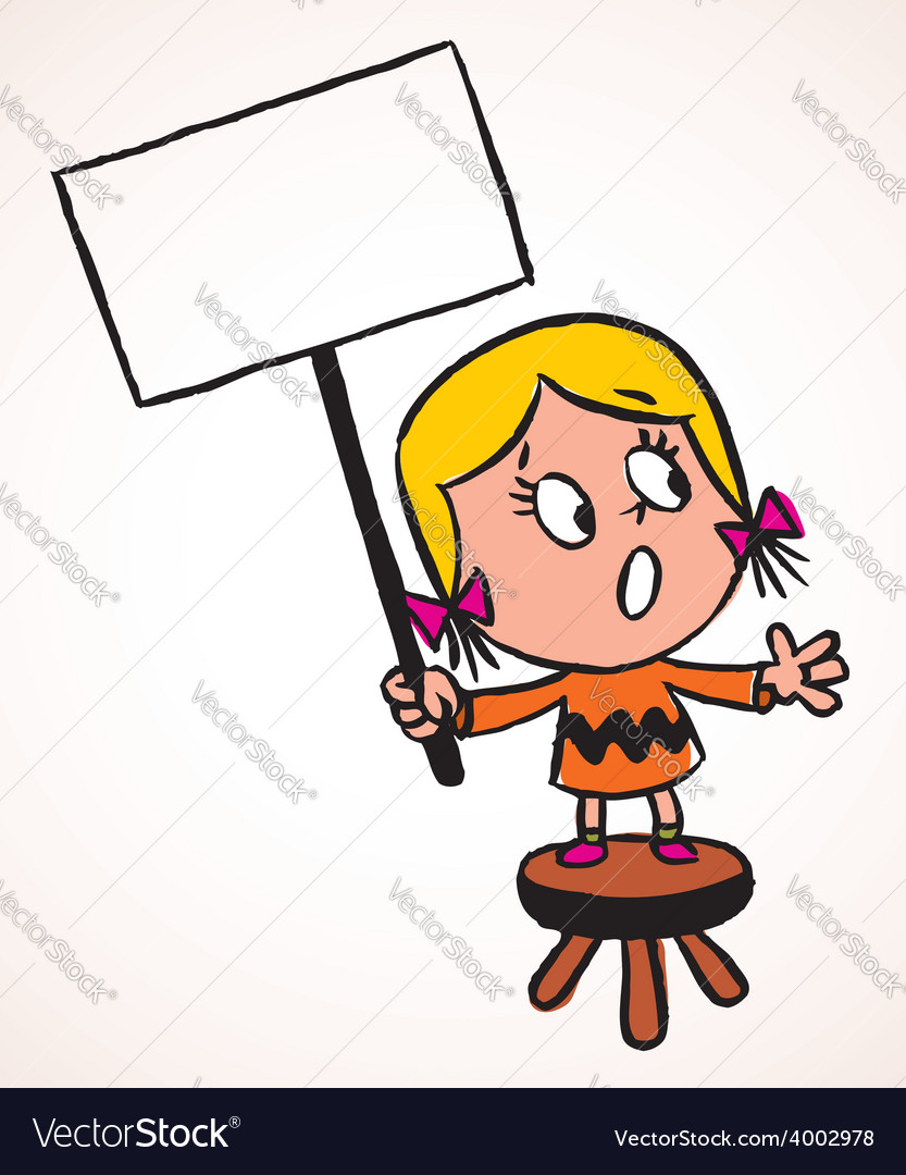 Little protest girl vector | Price: 1 Credit (USD $1)