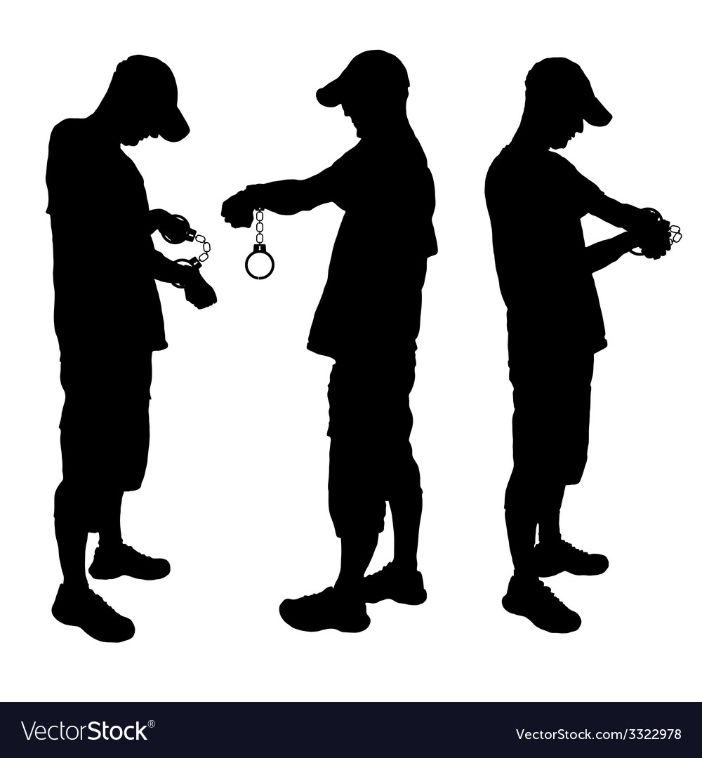Man with handcuff black vector | Price: 1 Credit (USD $1)