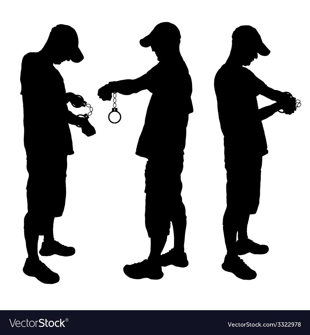 Man with handcuff black vector | Price: 1 Credit (USD $1)