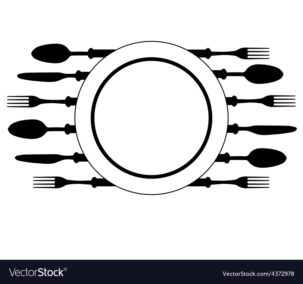 Plate with cutlery vector | Price: 1 Credit (USD $1)