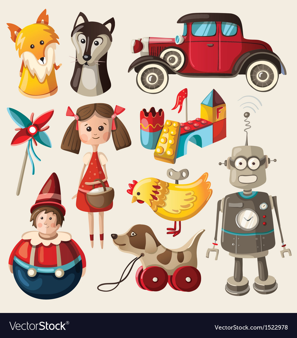 Set of colorful vintage christmas toys for kids vector | Price: 3 Credit (USD $3)