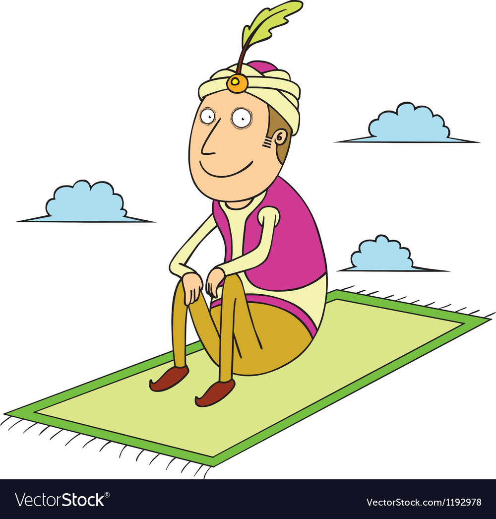 Sitting on flying carpet vector | Price: 1 Credit (USD $1)