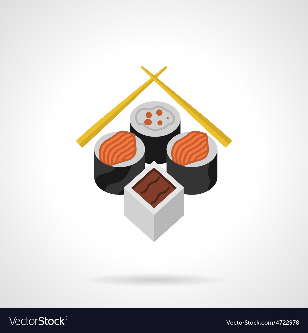 Sushi flat color icon vector | Price: 1 Credit (USD $1)