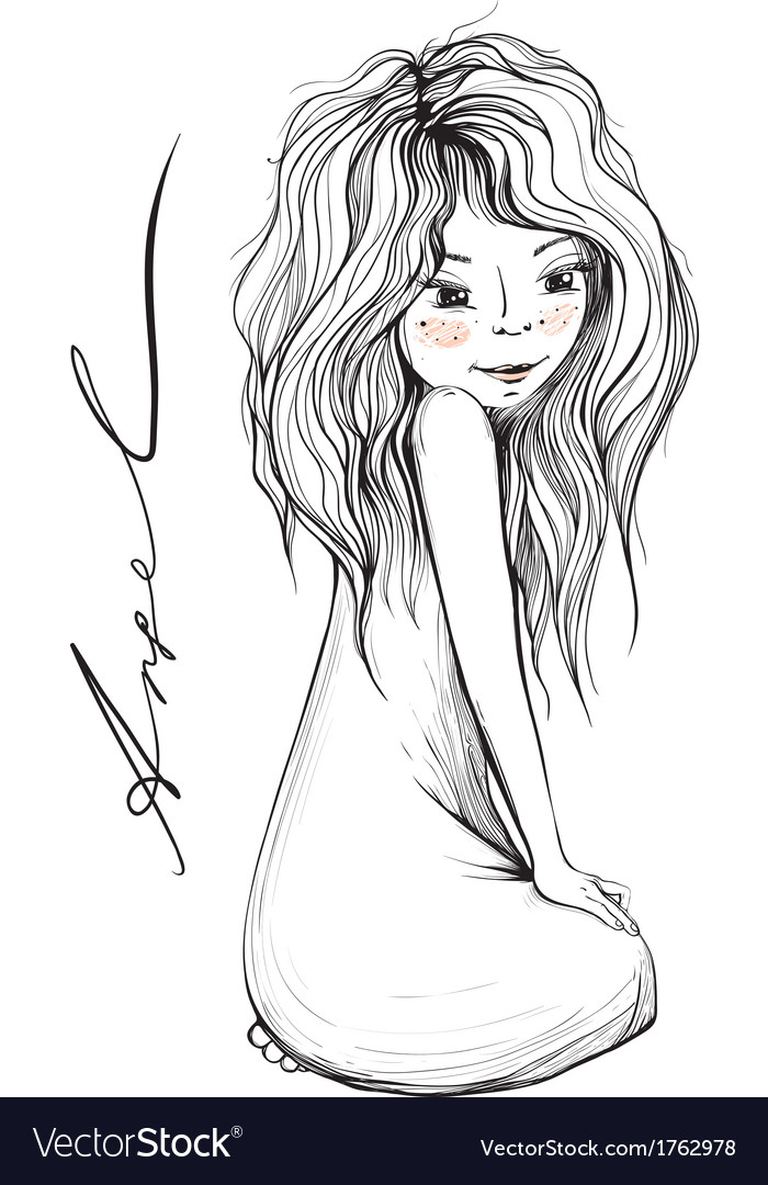 Young girl with long hair inky drawing vector | Price: 1 Credit (USD $1)