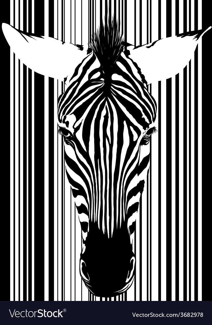 Zebra barcode face vector | Price: 1 Credit (USD $1)