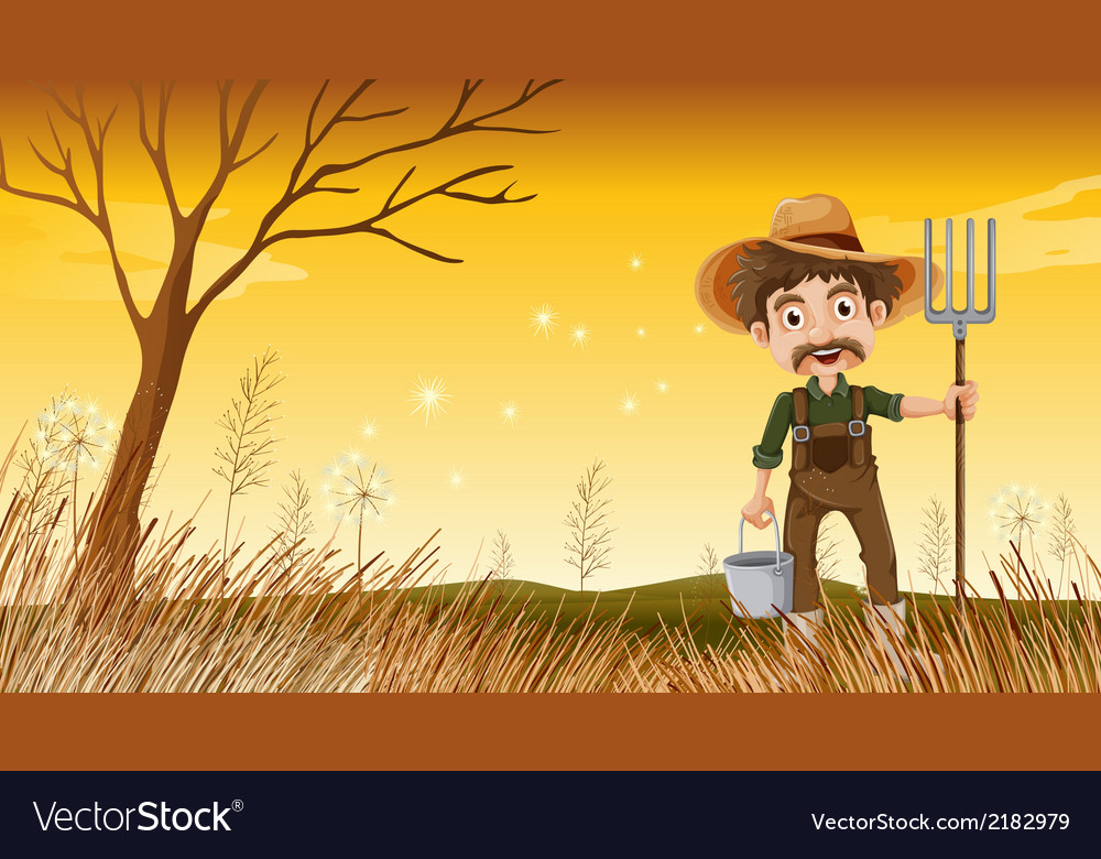 A smiling old gardener vector | Price: 1 Credit (USD $1)