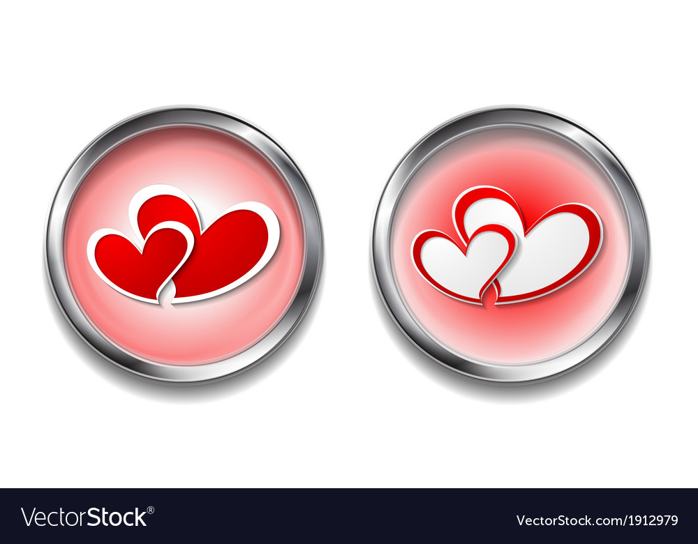 Abstract button with hearts vector | Price: 1 Credit (USD $1)
