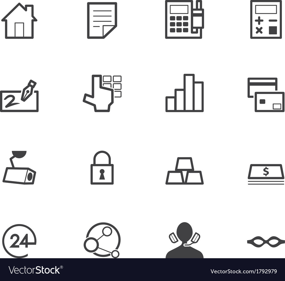 Bank black icon set on white back ground vector | Price: 1 Credit (USD $1)