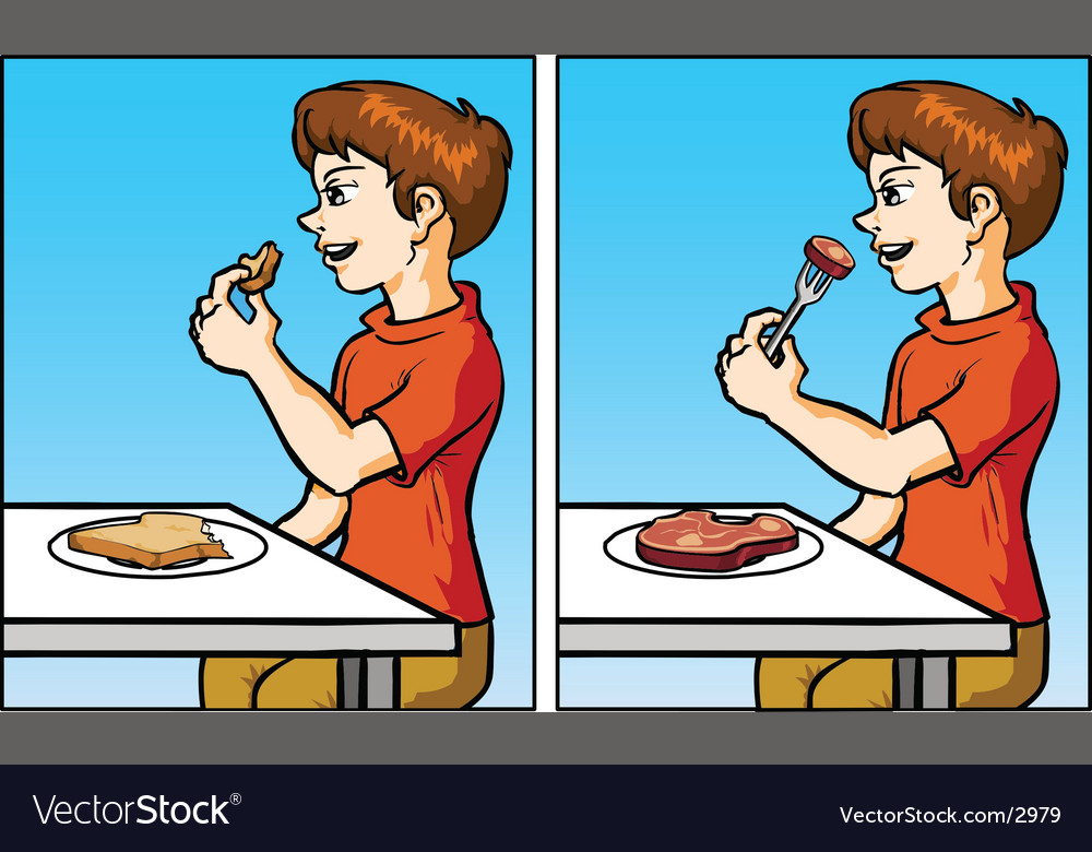Boy eating vector | Price: 3 Credit (USD $3)