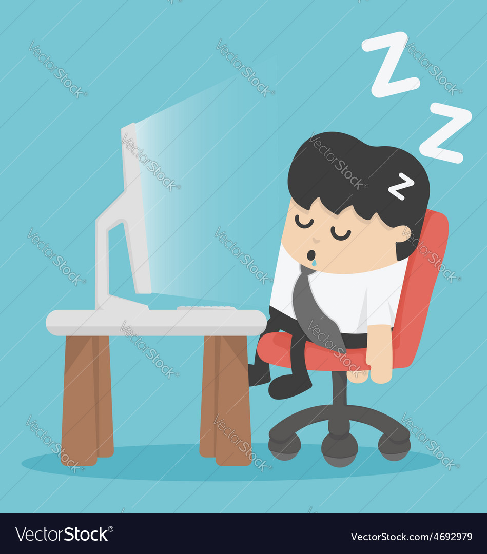 Businessman sleep at his office vector | Price: 1 Credit (USD $1)