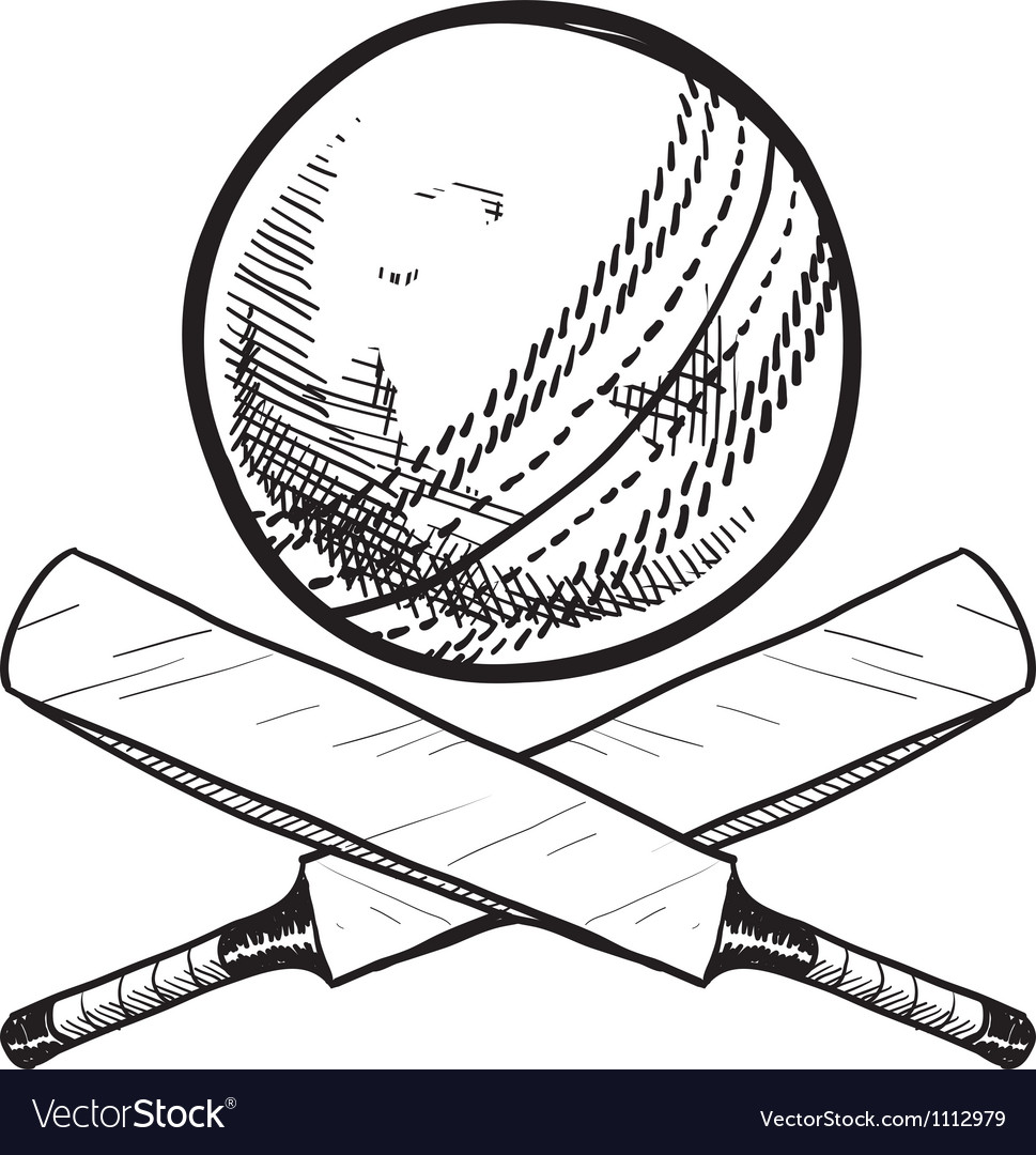 Doodle cricket ball bat vector | Price: 1 Credit (USD $1)