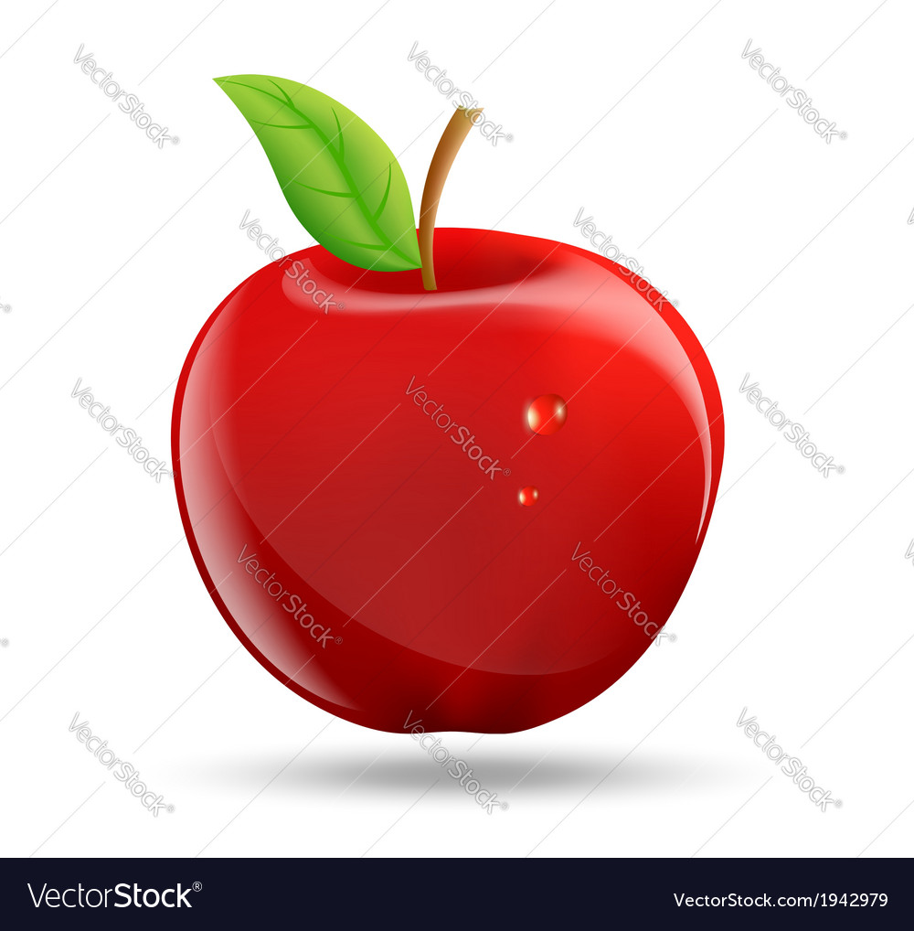Drawing a red apple on a white background vector | Price: 1 Credit (USD $1)