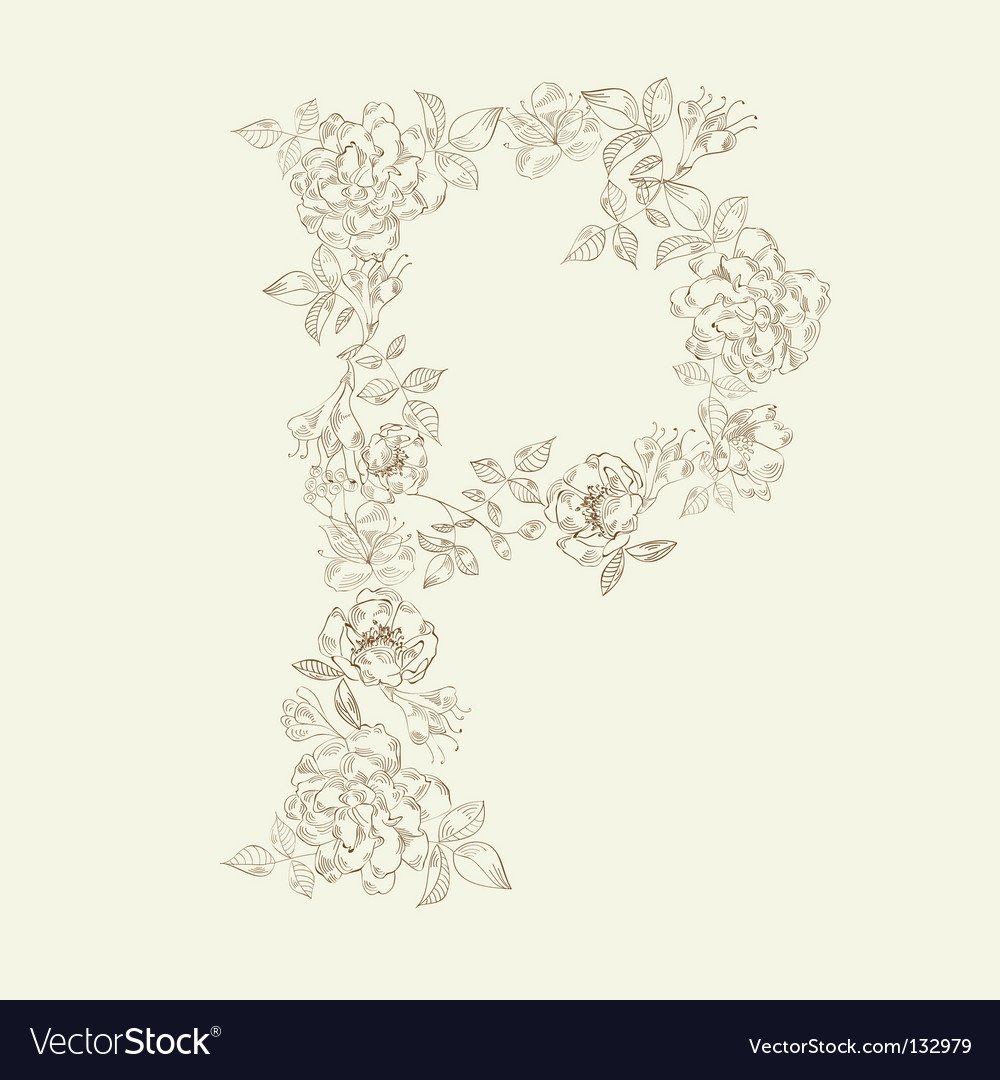 Floral font letter p vector | Price: 1 Credit (USD $1)