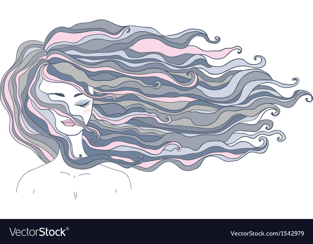 Girl with long hair vector | Price: 1 Credit (USD $1)