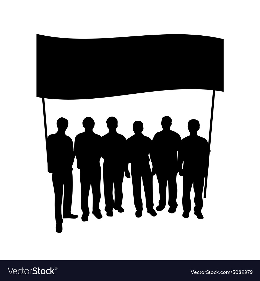 Group people with flag silhouette vector | Price: 1 Credit (USD $1)