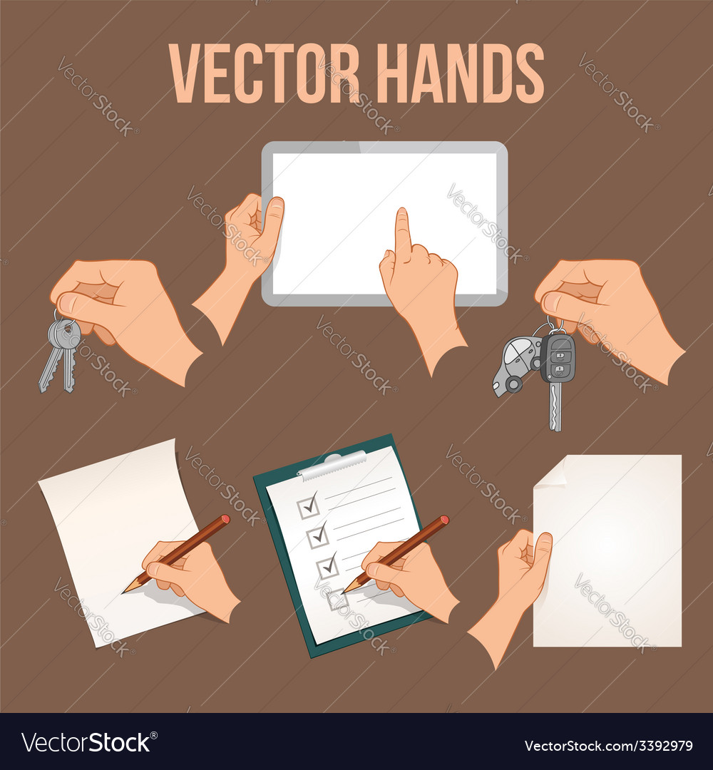 Hands holding objects set vector