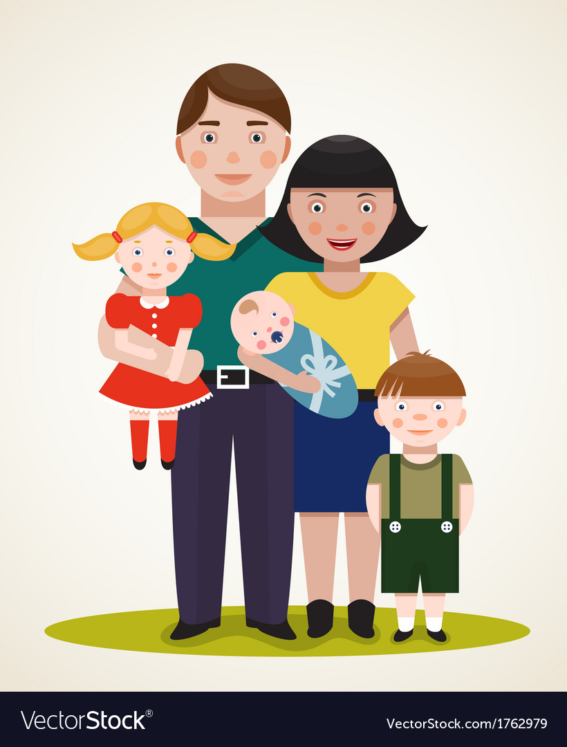 Happy family parents with three children vector | Price: 1 Credit (USD $1)