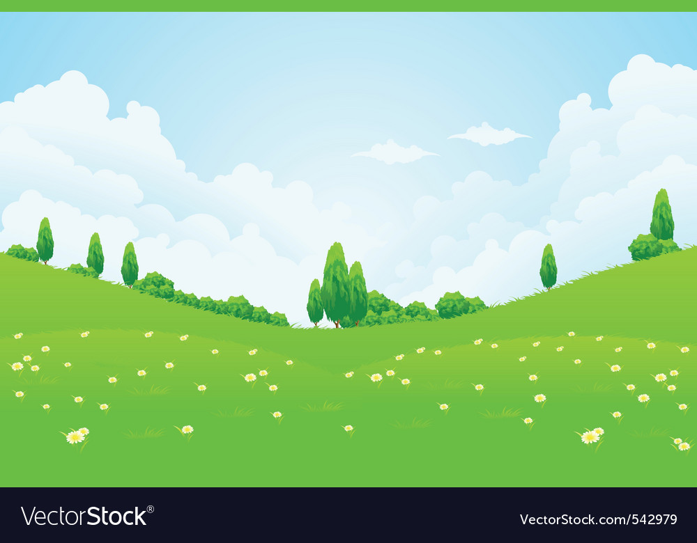Lush green fields vector | Price: 1 Credit (USD $1)