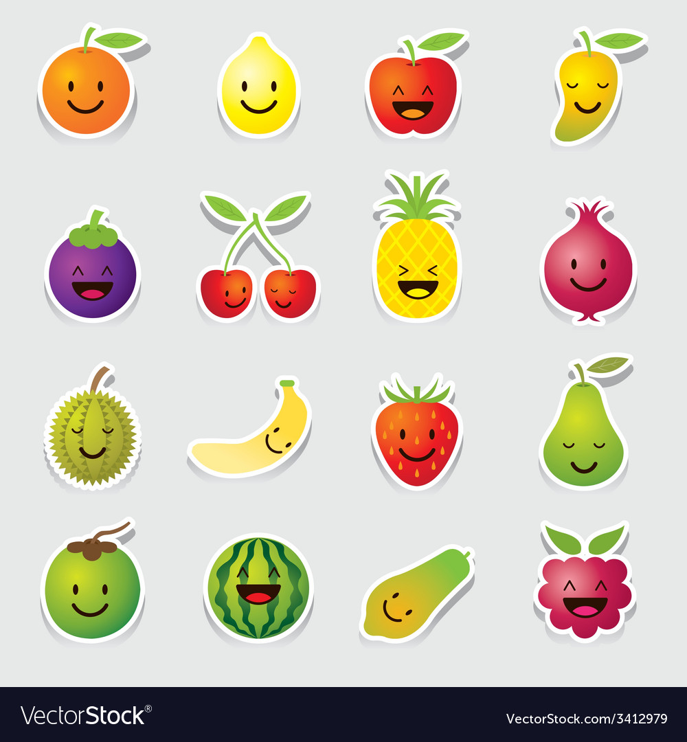 Mixed fruits character cartoon vector | Price: 1 Credit (USD $1)