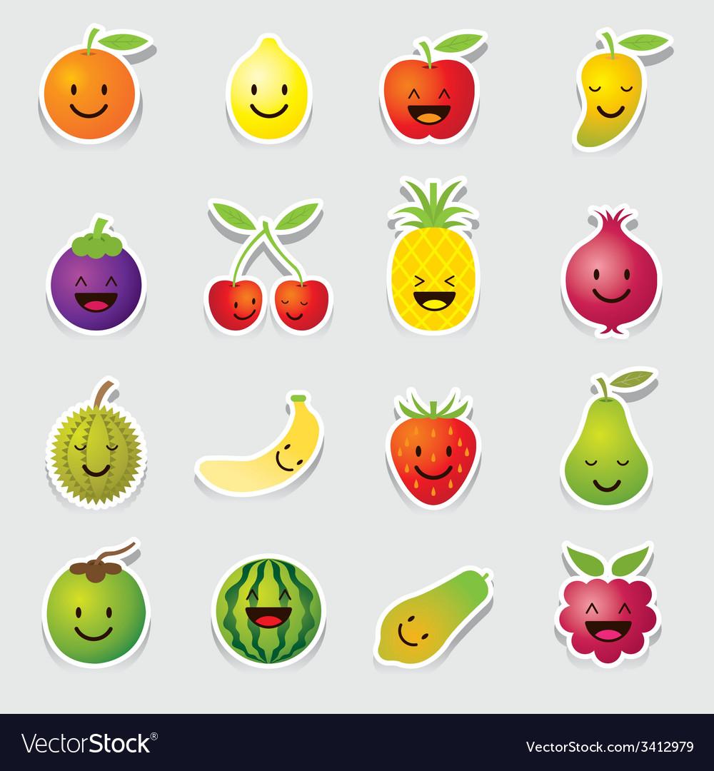 Mixed fruits character cartoon vector | Price: 1 Credit (USD $1)