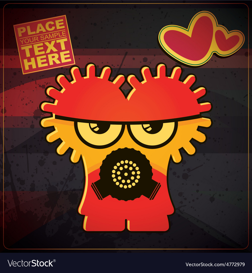 Monster with heart on grunge color background vector   Price: 1 Credit (USD $1)