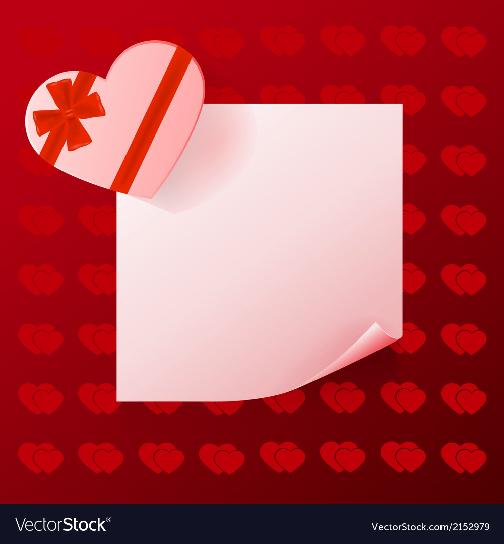 Note with gift on red background with hearts vector | Price: 1 Credit (USD $1)